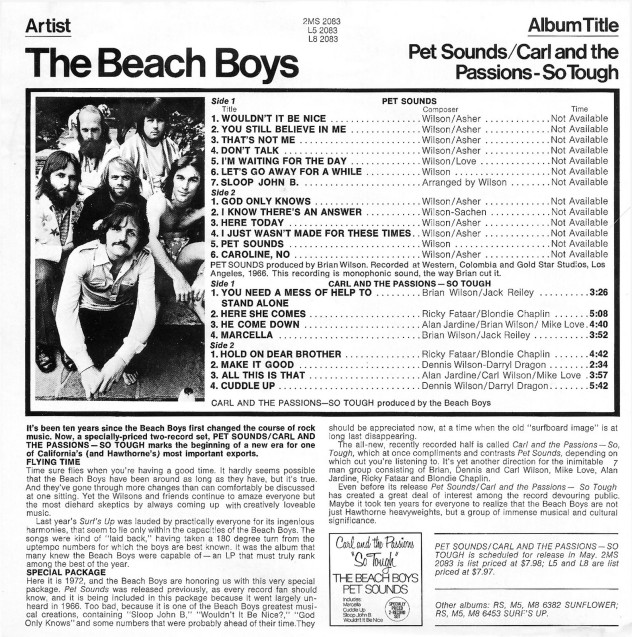 the beach boys pet sounds and so tough 1972