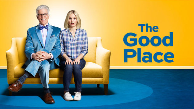 THE GOOD PLACE - Michael Schur, Kristen Bell, William Jackson Harper, Jameela Jamil, D'Arcy Carden, Manny Jacinto, Ted Danson